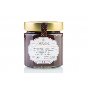 Peach cocoa and amaretti sweet spread cream 220 g